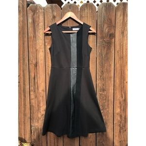 Calvin Klein Black Leather Accent Dress sz 2